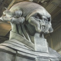 Close up of life size statue variation 1- head was changed in the final version (photo to come)
