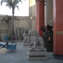 GRAUMAN CHINESE set - Sculpted Lions sculpted out of clay, molded and produced in plaster. Foutain in the background sclupted out of styro foam