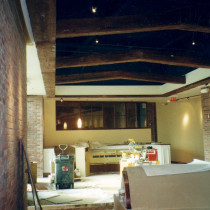 NATIONWIDE ARENA Ohio USA, 2001 - Production, painting and installation on site of false wooden beams in plaster, false bricks, false stones, a clock and a map painting
