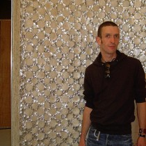 HOTEL W in Montreal, 2004 - VIP area, Mother of Pearl walls. Here is Patrice Laval, responsible for quality control as the mother of pearl under this form was his intellectual property