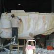 SKULL BOAT – Sculpture out of styro foam on metal frame. Sculptors : Michel Bernard, Tino Petronzio, France Lavoie, Linda Bicari, Lucie Fournier