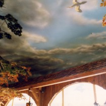 Le Shack Restaurant Mont-Tremblant 1996 - Tree sculptures and varied architectural elements as well as scenic painting