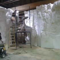 CANYON set -  Work in progress of styro foam sculpting for rock wall