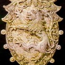 Lion shield composition, 1995 - For Commercial reproduction purposes, sculpture in plasticine, molded and produced in plaster