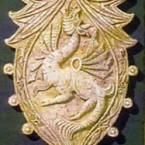 Dragon sheild composition 1995 - For Commercial reproduction purposes, sculpture in plasticine, molded and produced in plaster