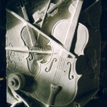 Violins 1997 - Sculpture in plasticine, molded and produced in plaster for commercial reproduction purposes.
