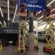 SALON DE L'AUTO Décembre 2013 - Pelle géante de 14 pieds de long pour Subaru. Sculpture en négatif servant de moule pour fabriquer la pelle en résine de fibre de verre avec supports de métal.