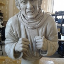 GARGAMEL'S BUST  Sculpted in clay, molded and casted in plaster. Sculpture by Lucie Fournier
