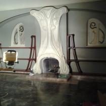 GARGAMEL'S PENTHOUSE  Ornemented Chimney mantle, decorative arts  style / plaster