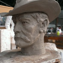 Head detail for General Philip Henry Sheridan statue in Christopher Park, head sculpted by Lucie Fournier