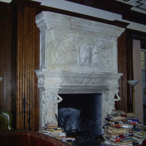 TRUSTEE ROOM set - Chimney mantle varied ornementation and cariatids, group work sculpted in clay, molded, produced in plaster
