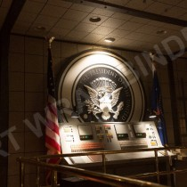 WHITE HOUSE BUNKER - PRESIDENT SEAL Sculpted in sign foam (hard type of urethane), lettering by CNC machine cut out - Picture taken by the on set photographer
