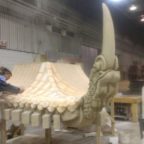 MONASTERY - One of tree Pagoda's PROTOTYPES for roof top corners; ready to be molded, casted out of plaster and installed. Sculptors: here are Chrystian Beaudoin and Francine Dubois. Also participated Lancelo Lepage and Luc Taillon
