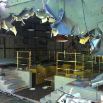 WHITE HOUSE BUNKER destroyed by Magneto - Aftermath - The torn metal effects are acheived with different techniques using rigid and flexible urethanes.