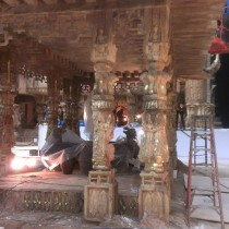Pagodas Monastery set - Each item is sculpted, molded, casted, pre-assembled and installed by the sculptor-molder-plaster team