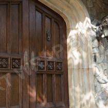 XAVIER MANSION - Notice the ornentation on the doors specially sculpted, molded and casted in plastic. Picture taken by on set photographer Alan Markfield